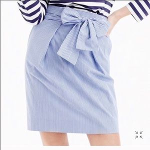 J Crew Blue and White Stripe Tie Skirt
